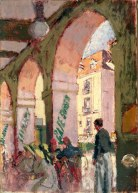 The Café Suisse (Café des Arcades, Dieppe), 1914 Leeds Museums and Galleries