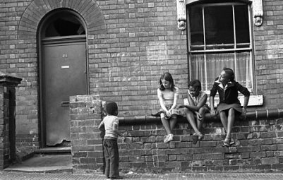 Young Girls Sitting on a Wall, Handsworth, 1991