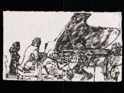 Concert at Evian, 1997. Sumi ink on paper, 14 x 23.7 cm