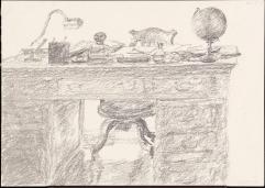 Desk, rue de la Chaise, 2005, graphite, pencil and crayon on paper, 21 x 29.5 cm