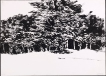 In the Park, 1969. Sumi ink on paper, 24 x 33 cm