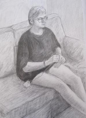 Helen Crocheting, August 1996, charcoal and pencil on A3 paper