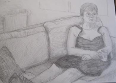 Helen watching TV, August 1996, pencil on A3 paper